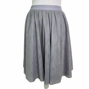 Comme Toi-Mesh Layered Lined Knee Length Skirt